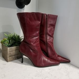 DEEP RED GENUINE LEATHER BOOTS